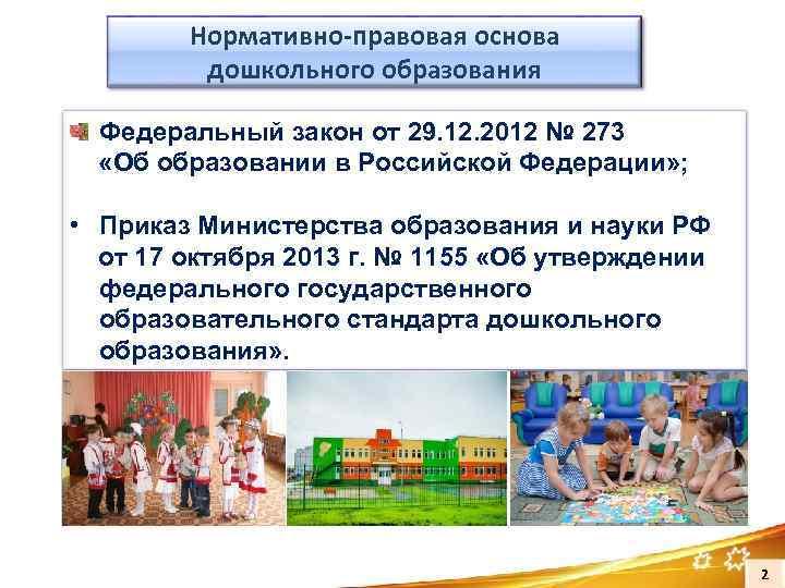 Нормативно-правовая основа дошкольного образования Федеральный закон от 29. 12. 2012 № 273 «Об образовании
