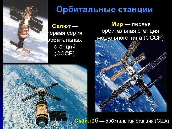 Орбитальные станции Мир — первая Салют — первая серия орбитальных станций (СССР) орбитальная станция