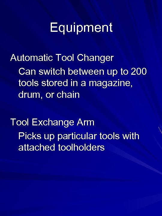 Equipment Automatic Tool Changer Can switch between up to 200 tools stored in a