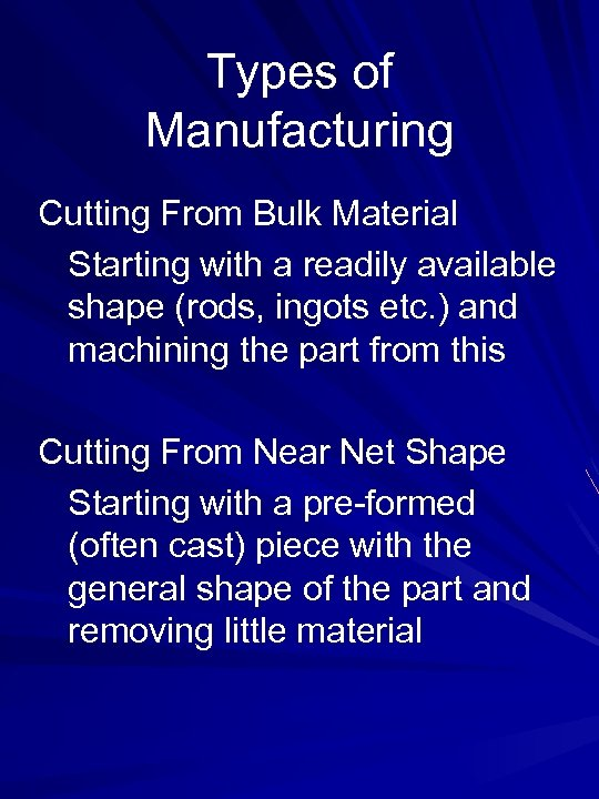 Types of Manufacturing Cutting From Bulk Material Starting with a readily available shape (rods,