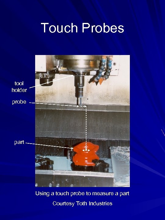 Touch Probes tool holder probe part Using a touch probe to measure a part