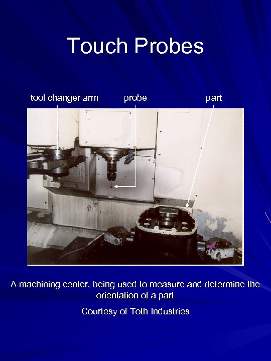 Touch Probes tool changer arm probe part A machining center, being used to measure
