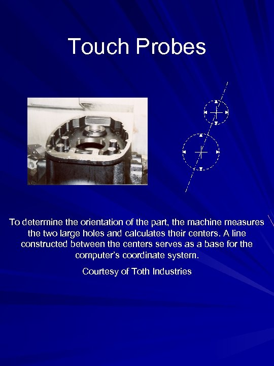Touch Probes To determine the orientation of the part, the machine measures the two