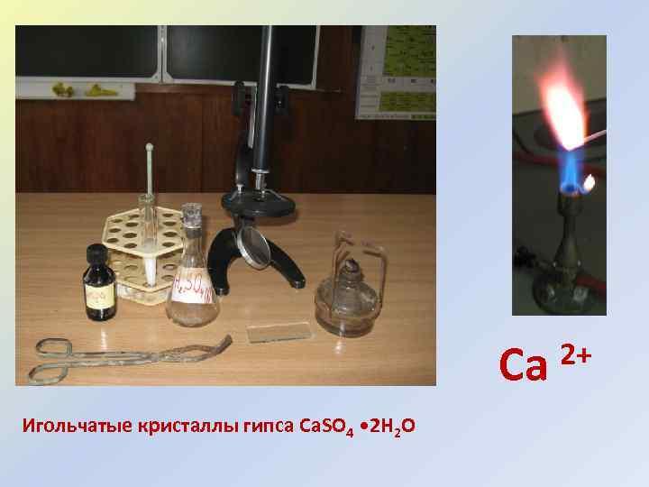 Ca Игольчатые кристаллы гипса Ca. SO 4 • 2 H 2 O 2+