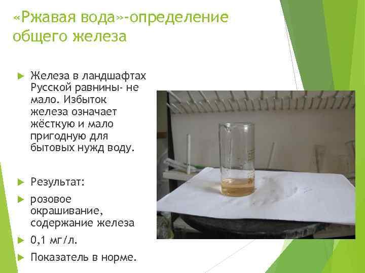 «Ржавая вода» -определение общего железа Железа в ландшафтах Русской равнины- не мало. Избыток