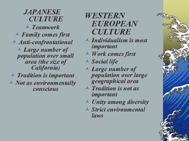 JAPANESE CULTURE © Teamwork © Family comes first © Anti-confrontational © Large number of