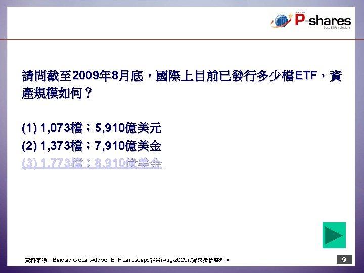 請 問 截 至 2009年 8月 底 , 國 際 上 目 前 已