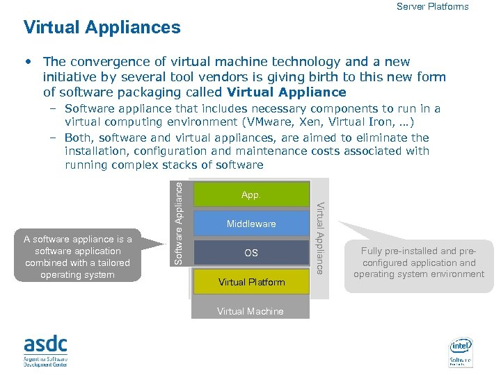 Server Platforms Virtual Appliances • The convergence of virtual machine technology and a new