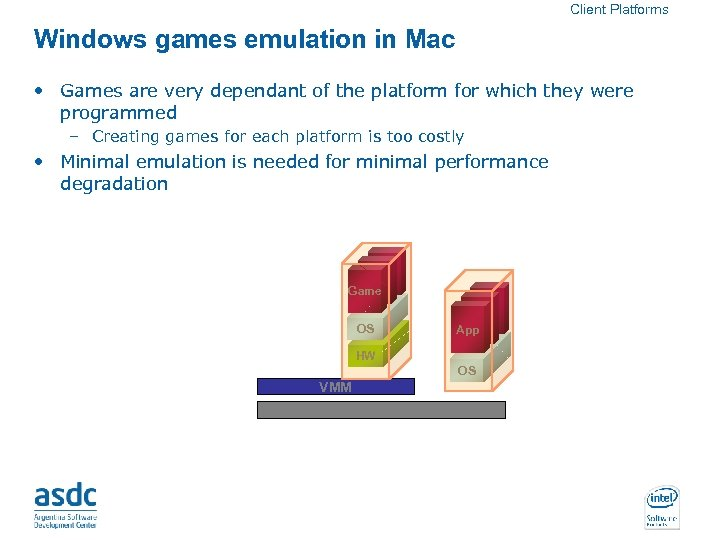 Client Platforms Windows games emulation in Mac • Games are very dependant of the