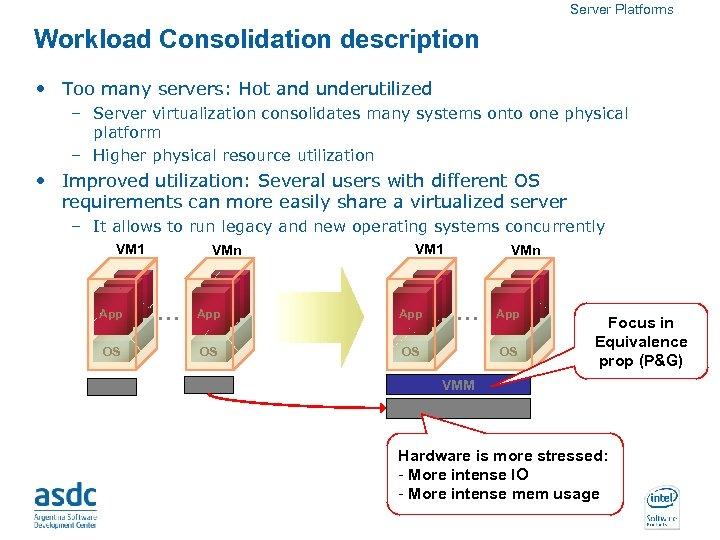 Server Platforms Workload Consolidation description • Too many servers: Hot and underutilized – Server