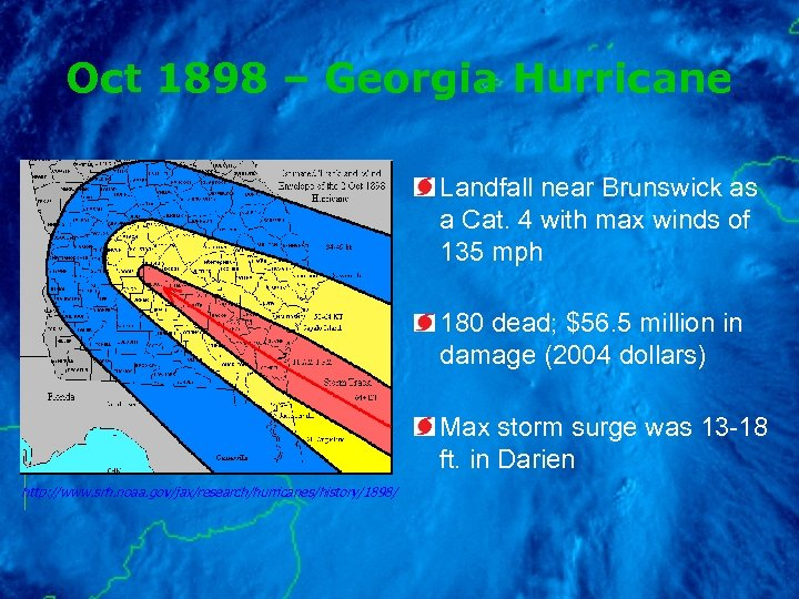 Oct 1898 – Georgia Hurricane Landfall near Brunswick as a Cat. 4 with max