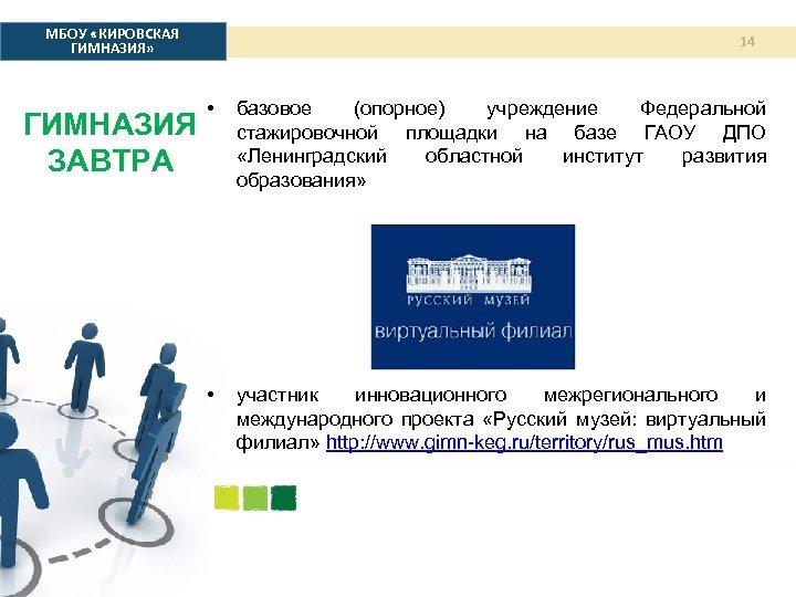 МБОУ «КИРОВСКАЯ ГИМНАЗИЯ» ГИМНАЗИЯ ЗАВТРА 14 • базовое (опорное) учреждение Федеральной стажировочной площадки на
