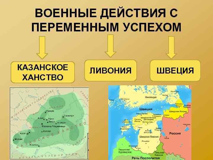 ВОЕННЫЕ ДЕЙСТВИЯ С ПЕРЕМЕННЫМ УСПЕХОМ КАЗАНСКОЕ ХАНСТВО ЛИВОНИЯ ШВЕЦИЯ