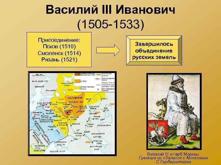 Василий III Иванович (1505 -1533) Присоединение: Псков (1510) Смоленск (1514) Рязань (1521) Завершилось объединение