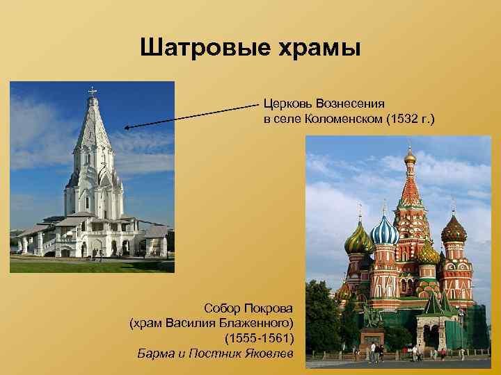 Шатровые храмы Церковь Вознесения в селе Коломенском (1532 г. ) Собор Покрова (храм Василия