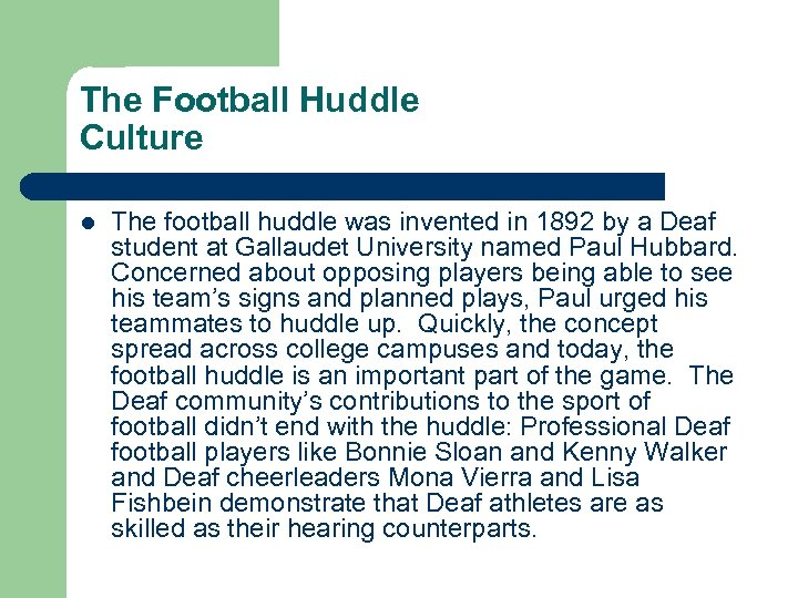 The Football Huddle Culture l The football huddle was invented in 1892 by a