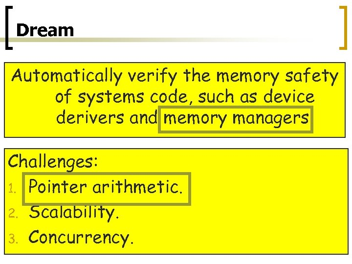 Dream Automatically verify the memory safety of systems code, such as device derivers and