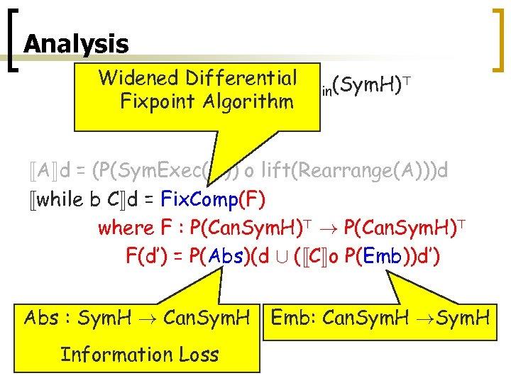 Analysis Widened Differential P (Sym. H)> «C¬ : Pfin(Sym. H)> ! fin Fixpoint Algorithm