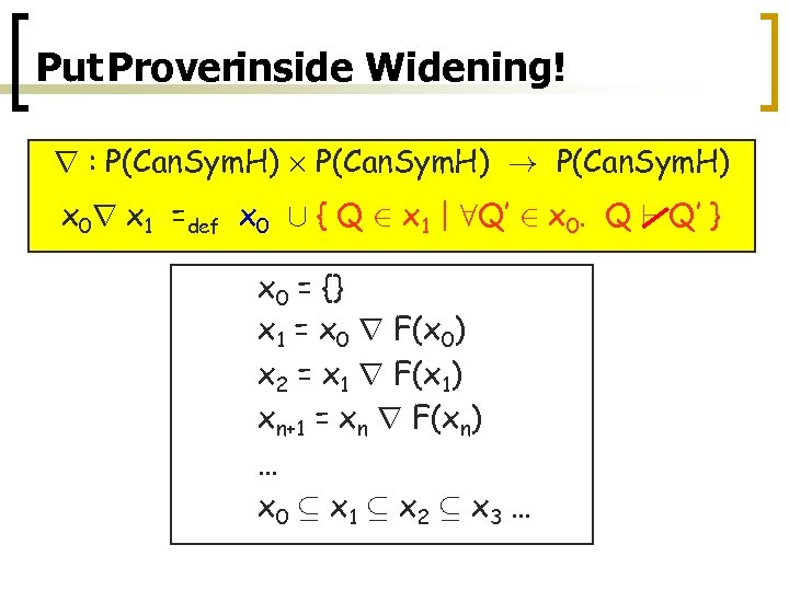 Put Proverinside Widening! r : P(Can. Sym. H) £ P(Can. Sym. H) ! P(Can.