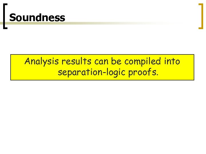 Soundness Analysis results can be compiled into separation-logic proofs.
