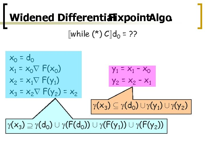 Widened Differential Fixpoint. Algo. «while (*) C¬d 0 = ? ? x 0 =