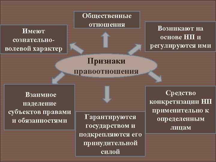 Имеют сознательноволевой характер Общественные отношения Возникают на основе НП и регулируются ими Признаки правоотношения