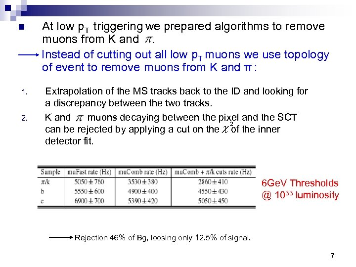 n 1. 2. At low p. T triggering we prepared algorithms to remove muons