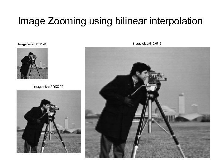 Image Zooming using bilinear interpolation
