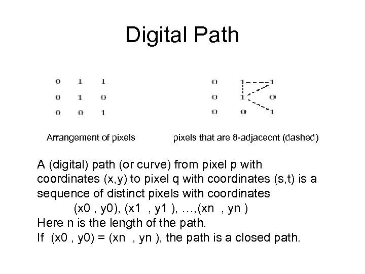 Digital Path Arrangement of pixels that are 8 -adjacecnt (dashed) A (digital) path (or