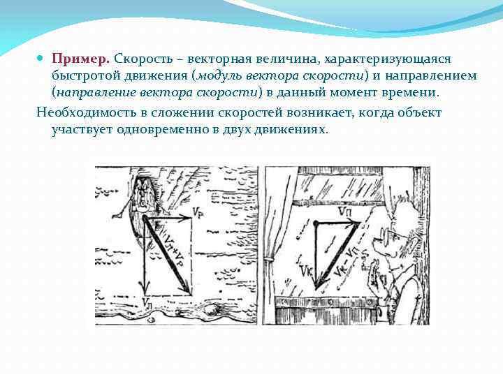 Пример. Скорость – векторная величина, характеризующаяся быстротой движения (модуль вектора скорости) и направлением