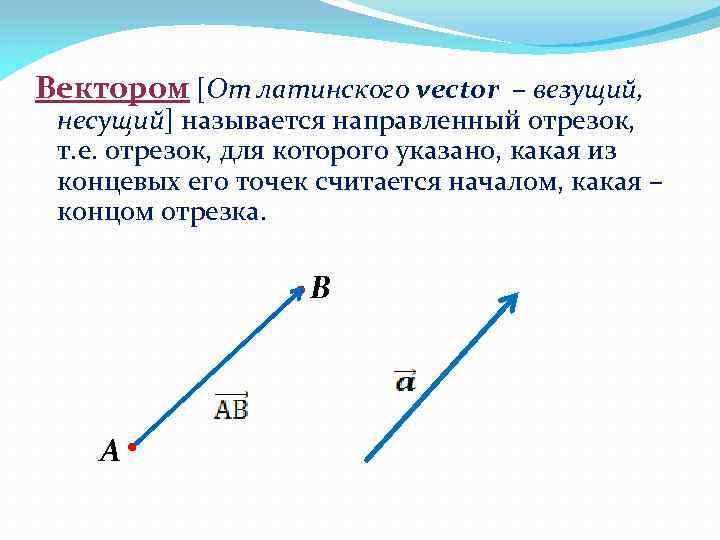 Вектором [От латинского vector – везущий, несущий] называется направленный отрезок, т. е. отрезок, для