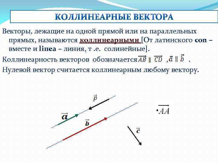 Векторы, лежащие на одной прямой или на параллельных прямых, называются коллинеарными [От латинского con