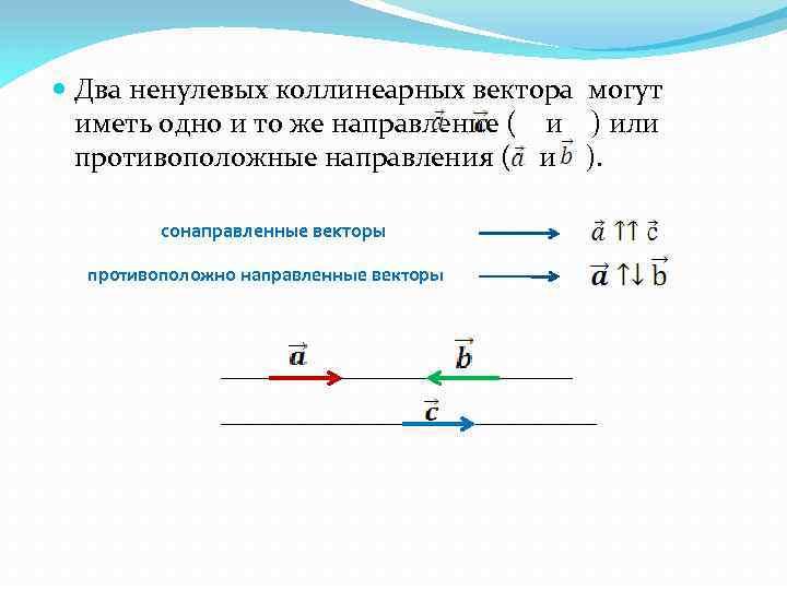 Два ненулевых коллинеарных вектора могут иметь одно и то же направление ( и