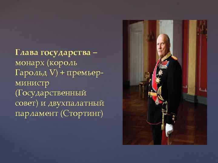 Глава государства – монарх (король Гарольд V) + премьерминистр (Государственный совет) и двухпалатный парламент