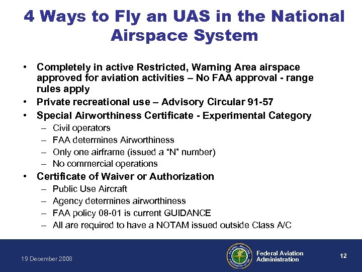 4 Ways to Fly an UAS in the National Airspace System • Completely in