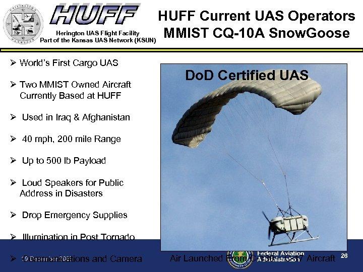 HUFF Current UAS Operators Herington UAS Flight Facility MMIST CQ-10 A Snow. Goose Part