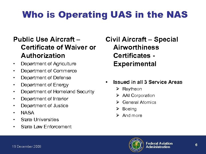 Who is Operating UAS in the NAS Public Use Aircraft – Certificate of Waiver