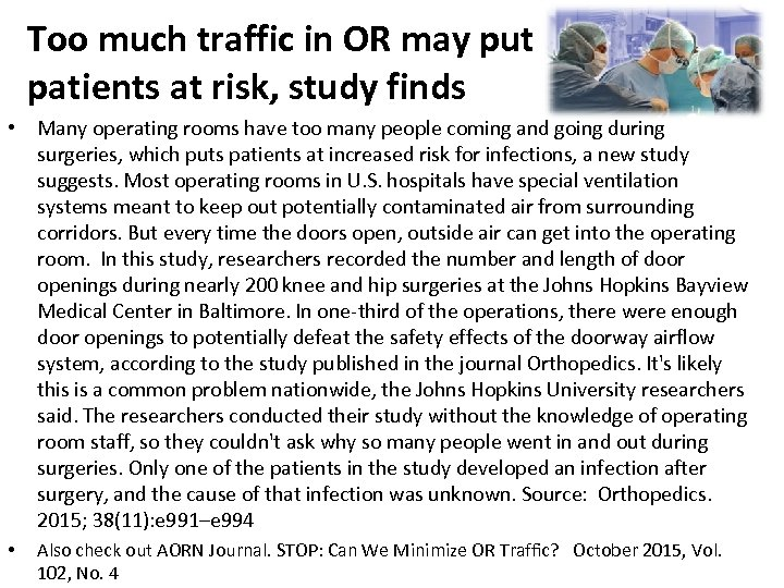 Too much traffic in OR may put patients at risk, study finds • Many