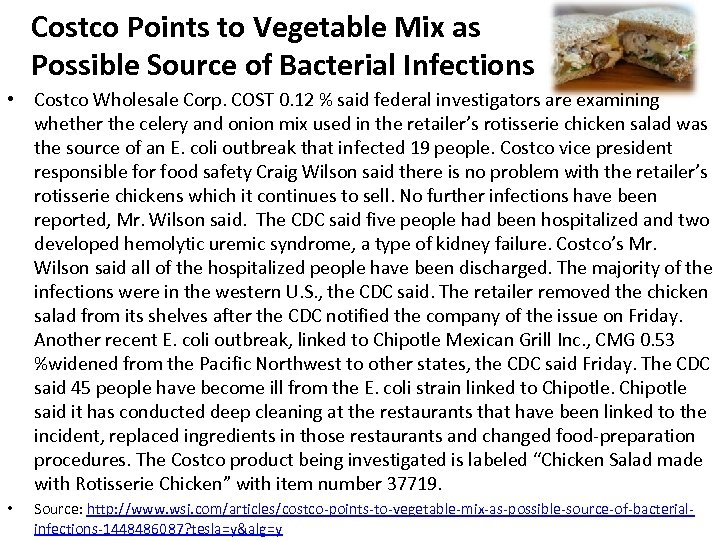 Costco Points to Vegetable Mix as Possible Source of Bacterial Infections • Costco Wholesale
