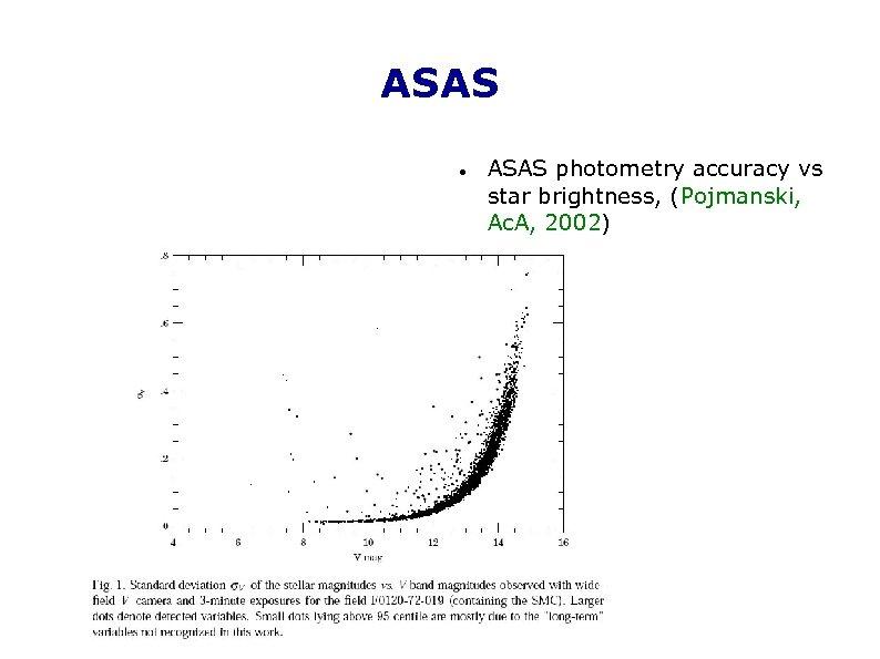 ASAS photometry accuracy vs star brightness, (Pojmanski, Ac. A, 2002)