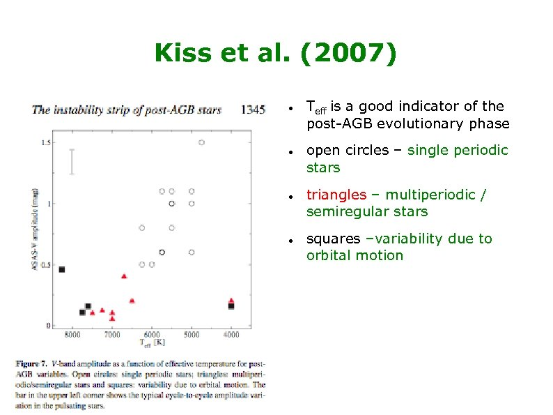 Kiss et al. (2007) Teff is a good indicator of the post-AGB evolutionary phase