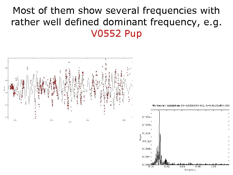 Most of them show several frequencies with rather well defined dominant frequency, e. g.