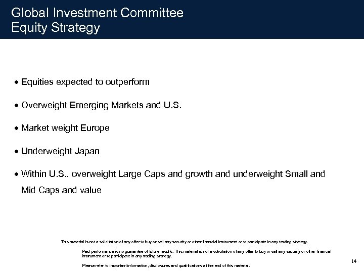 Global Investment Committee Equity Strategy · Equities expected to outperform · Overweight Emerging Markets