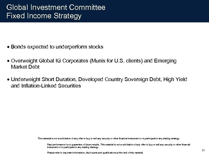 Global Investment Committee Fixed Income Strategy · Bonds expected to underperform stocks · Overweight