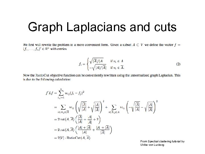 Graph Laplacians and cuts From Spectral clustering tutorial by Ulrike von Luxborg