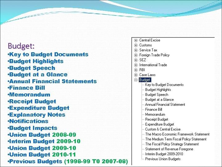 Budget: • Key to Budget Documents • Budget Highlights • Budget Speech • Budget