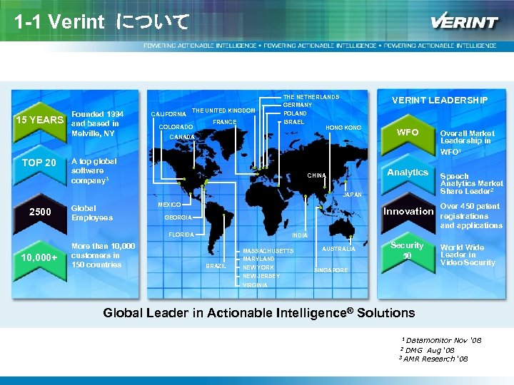1 -1 Verint について 15 YEARS TOP 20 Founded 1994 and based in Melville,