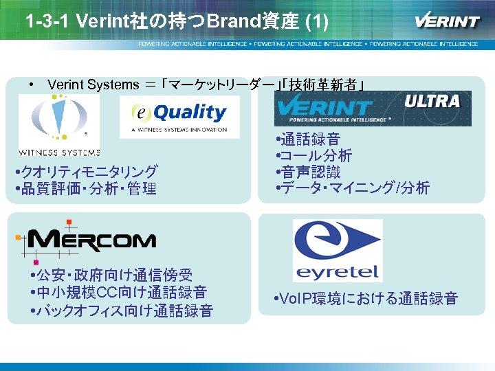 1 -3 -1 Verint社の持つBrand資産 (1) • Verint Systems = 「マーケットリーダー」「技術革新者」 • クオリティモニタリング • 品質評価・分析・管理