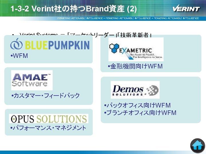 1 -3 -2 Verint社の持つBrand資産 (2) • Verint Systems = 「マーケットリーダー」「技術革新者」 • WFM • 金融機関向けWFM