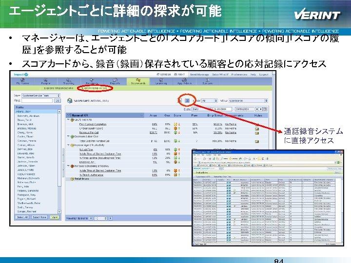 エージェントごとに詳細の探求が可能 • マネージャーは、エージェントごとの「スコアカード」「スコアの傾向」「スコアの履 歴」を参照することが可能 • スコアカードから、録音(録画)保存されている顧客との応対記録にアクセス 通話録音システム に直接アクセス